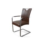 Bondi Dining Chair W/Arms Brown PU
