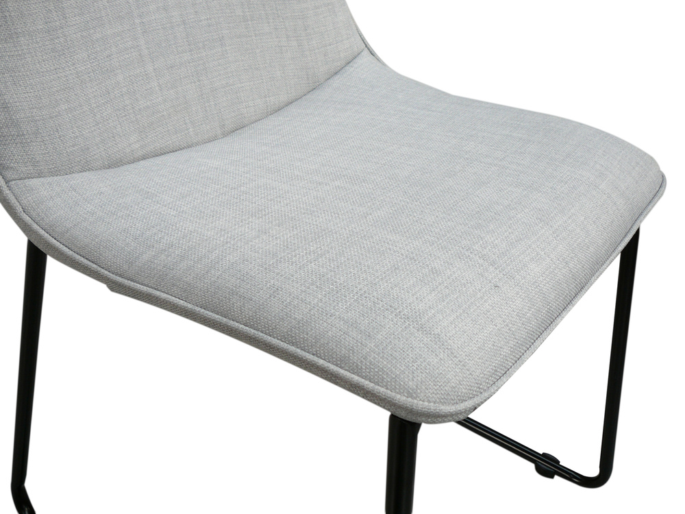 Helsinki Blue Grey Linen Dining Chair W Black Legs