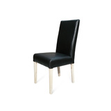 Hamilton Black Leather Dining Chair Natural