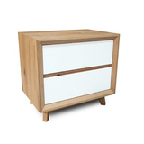 Felix Scandinavian White Gloss w Oak Bedside Table