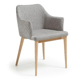 Hex Quilted Fabric Occasional Dining Chair LIGHT GREY w Natural Legs