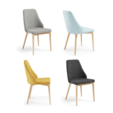 Hex Qulted Fabric Dining Chair w Natural Leg