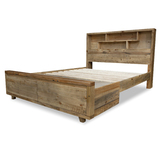 Eden Reclaimed Timber Queen Bed with Bookcase and Storage Drawers