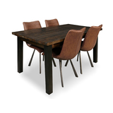 Zeus Scandustrial Recycled Timber 1500 Dining Package with 4 x Phoenix Rust Brown Chairs