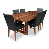 Bondi 2100 7pce Dining Set Tasmanian Blackwood with 6 x Mid Back Contour Chairs